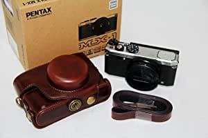 "Brown Kindofsmile ""Ever Ready"" Protective Pu Leather Camera Case Bag for Pentax Mx1 Mx-1 Mx 1"