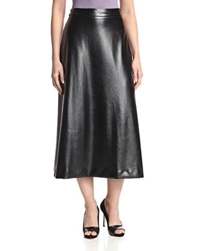 Monique Lhuillier Women's Techno Faux Leather Skirt