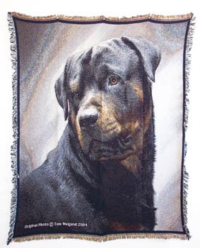 Rottweiler Portrait Afghan Throw Blanket Rottwielers