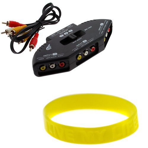 GTMax Audio Video RCA Composite AV Video Game Selector Switch (Black) with Free Wristband for XBox, XBOX 360, PS1, PS2, PS3, Gamecube, Wii, DVD, VCR
