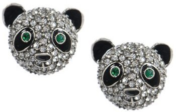Pave Panda Bears Stud Earrings Silver-Tone Setting W/ Gift Box And Organza Bag front-1072859