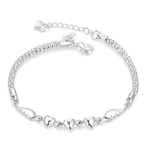 amdxd-jewerly-gold-plated-women-charm-bracelet-silver-3-simple-hearts-20cm-with-5cm-extension-chain