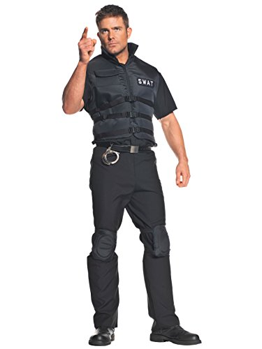 Mens SWAT Team Costume 2 Piece Set Black Vest and Knee Pads Easy Costume