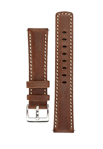 signature-traveller-22-mm-coffee-with-white-extra-long-watch-band-replacement-watch-strap-genuine-le