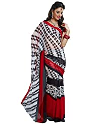 Prafful Gorgette Printed Saree With Unstitched Blouse