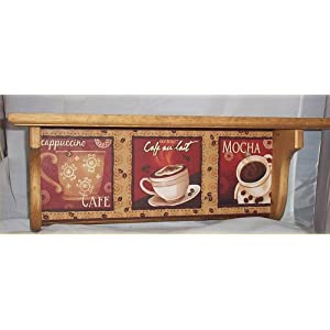 Amazon.com: Coffee Wood Wall Shelf Mocha Cappuccino Cafe Home ...