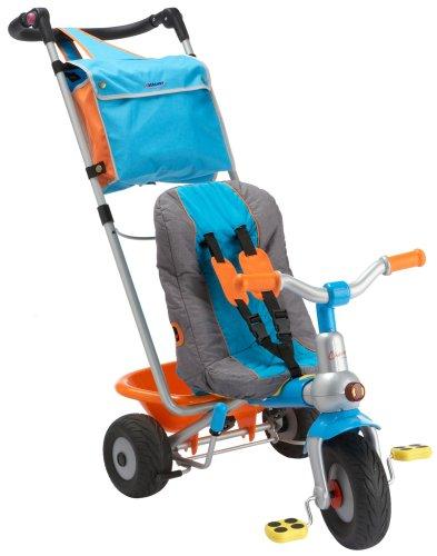 Berchet 414201 - Top Dreirad Baby Too Komfort Metallrahmen, mitwachsend mit Schiebestange, Freilauf, Gurt, Rucksacktasche, Kippmulde, zerlegbar blau/rot/grün