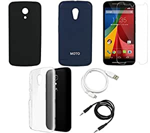 NIROSHA Tempered Glass Screen Guard Cover Case USB Cable for Motorola G2 2nd Gen - Combo