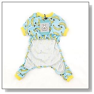 Cutebone Dog Pajamas Banana Dog Apparel Dog Jumpsuit Pet Clothes Onesie Pajamas P06(L)