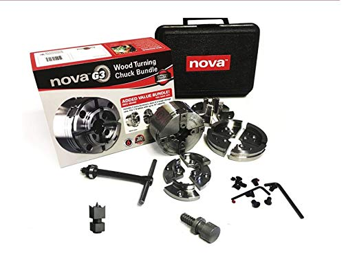 Teknatool - Nova G3 30th Anniversary Woodturning Chuck Bundle With Added NCSC Chuck Spur (Chuck direct threaded to 1 x 8tpi)