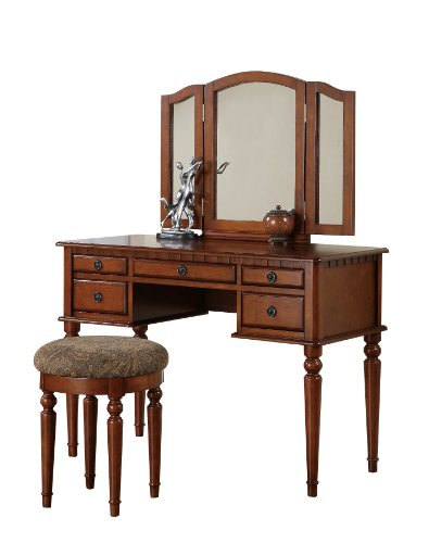 Bobkona St. Croix Collection Vanity Set With Stool, Walnut front-1012349