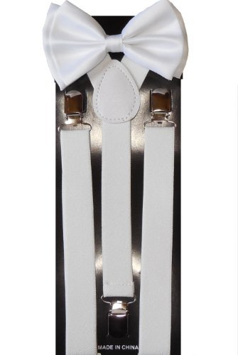 Unisex White Suspenders/bow Tie Set - Adjustable