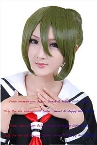 NEW fashion HOT sexy Dark Green Bun Pony Tail Anime cosplay wigs party Masquerade girls 30CM