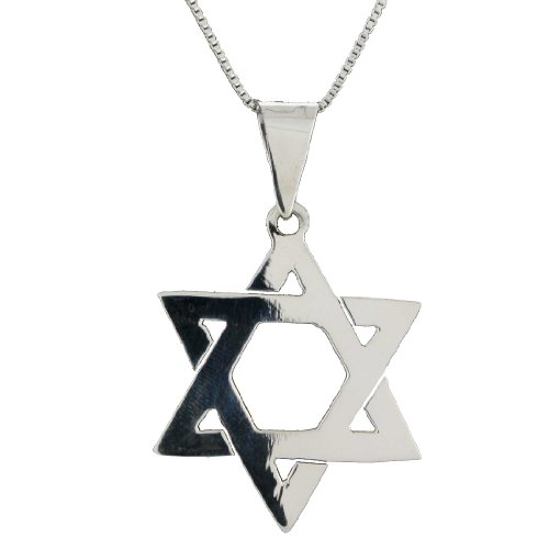 Sterling Silver Star of David Pendant Necklace on 24