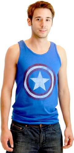 Captain America Distressed Star Shield Tank Top Sleeveless Shirt