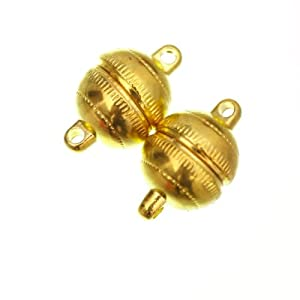 ILOVEDIY 10 Sets Gold Plated Strong Magnetic Clasps Round 8mm for Bracelets Jewelry