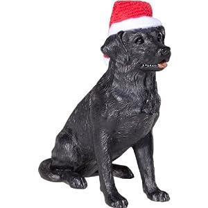 Sandicast Black Labrador Retriever with Santa Hat Christmas Ornament