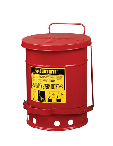 Justrite Oily Waste Can- 6 Gallon nib 8 pack scepter corporation 07450 1 25 gallon epa carb gas can auth dealer