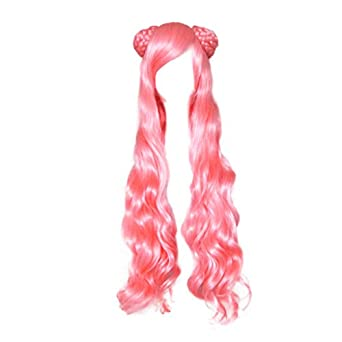 Dream2reality Cosplay_Code Geass Lelouch of the Rebellion_Euphemia Li Britannia_2 ponytails_80CM curly +2 hair bunscm_Pink_Japanese high temperature resistant fiber wigs