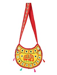 Beautiful Yellow Embroidered Cotton Elephant Sling Bag For Women's By Rajrang