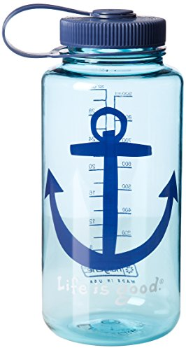 Life Is Good Anchor Water Bottle (Turquoise Blue), One Size front-585412