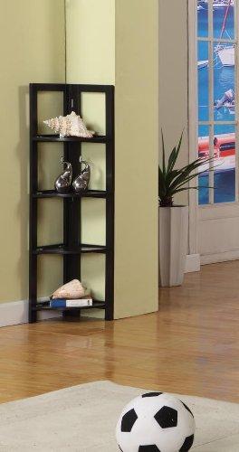 Espresso Finish Wood Foldable 4 Tier Corner Shelves Bookcase Plant Stand