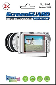 3x Samsung NX300 Premium Clear LCD Screen Protector Cover Guard Shield Protective Film Kit. Exact fit, no cutting. (3 pieces by GUARMOR)