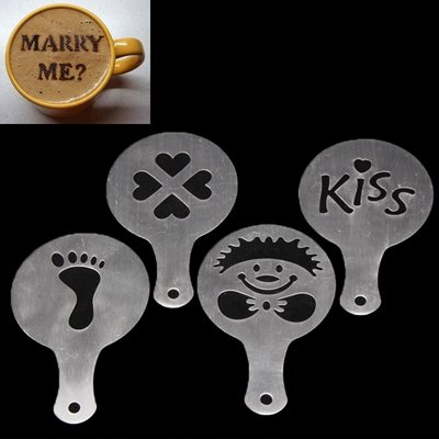 Product Ace 4Pc Pack Coffee/Cappuccino/Latte & Drink Molds (Pack #1 Foot Hearts Face Kiss)