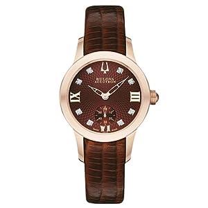 Bulova Accutron Masella 64P103 31mm Diamonds Rose Gold Case Brown Leather Anti-Reflective Sapphire Women's Watch
