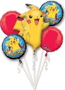 Pokemon Pikachu and Friends 5 Mylar Balloons Bouquet ~ Party Supplies
