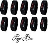 Pappi Boss Imported Unisex BLACK Set of 10 Digital Rubber Jelly Slim Silicone Sports Led Smart Band Watch for Boys, Girls, Men, Women, Kids - SALE OFFER
