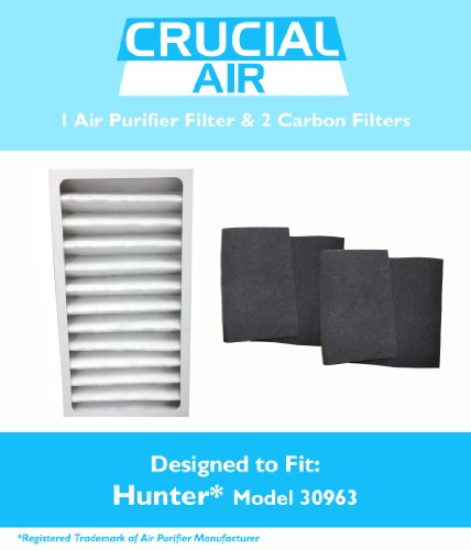 1 Hunter 30710, 30711 & 30730 Air Purifier Filter & 2 Carbon Pre Filters, Part # 30963, 30901, 30903, 30907, 30958 & 30959, Designed & Engineered by Crucial Air