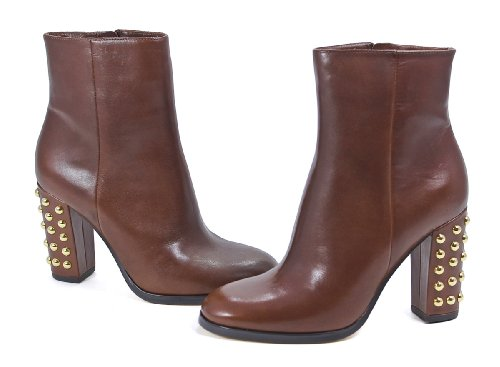 Michael Kors Linden Bootie Mocha Brown Leather Studded Ankle Boots Shoes