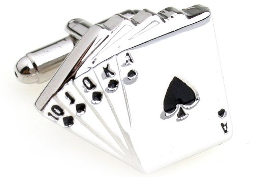 MFYS Men's Jewelry Steel Poker King Novelty Cufflinks