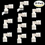 TronicsPros 10pcs 10mm 2 Pin L-shape SMD 5050 LED Strip Connector Right Angle Corner Connector for Single Color 5050 LED Strip Lights Strip to Strip Connector