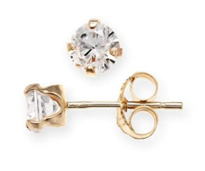 Modern 9 ct Gold Ladies Solitaire Stud Earrings with Cubic Zirconia/CZ 0.50 Carat - 5mm*5mm