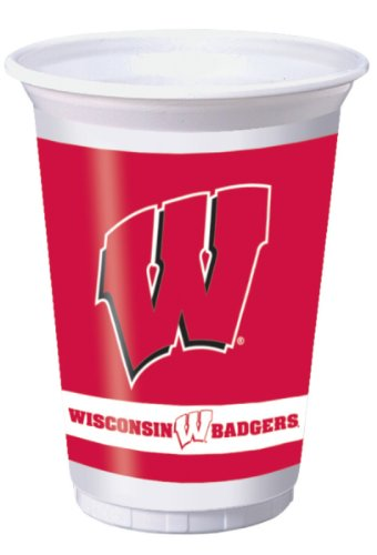 Creative Converting Wisconsin Badgers Printed 20 Oz. Plastic Cups (8 Count)