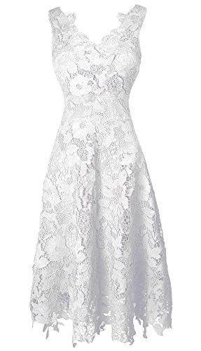 KIMILILY Women's V neck Elengant Floral Lace Swing Bridesmaid Dress(W,S)