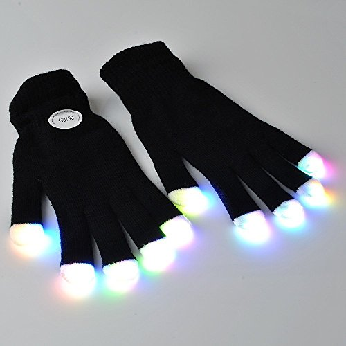 #1 Premium LED Lighting Gloves, Flashing fingers, Rave gloves, colorful party dance gloves, Birthday, EDM, Disco, Dubstep party, 6 light flashing modes (Black, Type 1)
