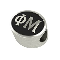 Phi Mu Black Antique Oval Sorority Bead Charm Fits Most European Style Bracelets. High Quality Bead in Stock for Fast Shipping