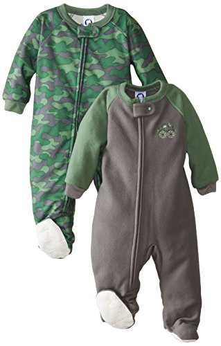 Gerber Baby-Boys Infant 2 Pack Blanket Sleeper, Green/Gray Camo, 6 Months