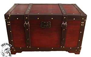"PHAT TOMMY ""Old School"" Retro Decorative Steamer Storage Trunk Accent Decor"