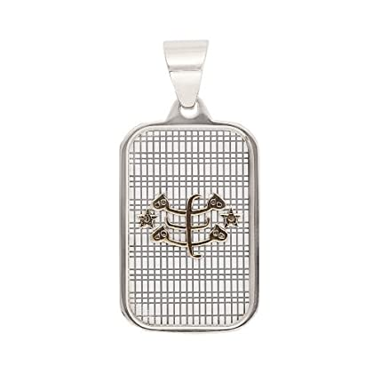 Stainless Steel Two-tone Baha'i Ringstone Symbol Pendant with ...