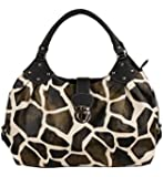 FASH Large Giraffe Print Satchel Style Top Handle Handbag