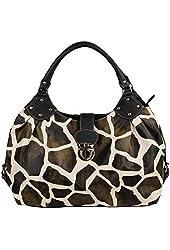 FASH Large Giraffe Print Satchel Style Top Handle Handbag