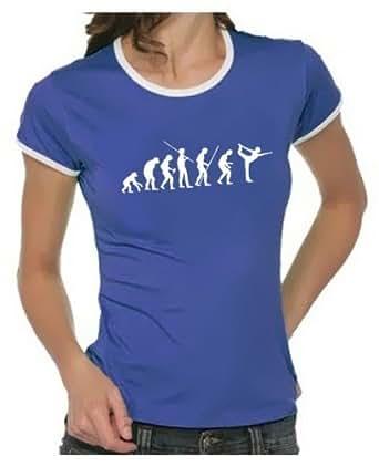 Coole-Fun-T-Shirts T-shirt Yoga Evolution Mixte Bleu Blau Damen 36