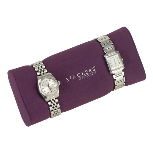 Stackers Jewellery Box | Cream & Purple Watch & Bracelet Pad Stacker Accessory