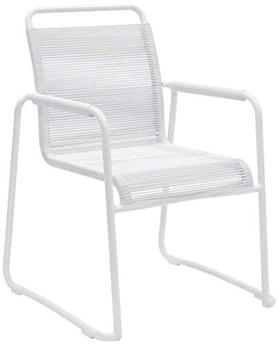 Bizzotto Klio Poltrona, Impilabile, Alluminio, Bianco, 66x64x68 cm