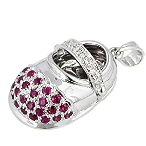 14K White Gold Ruby and Diamond Baby Shoe Pendant