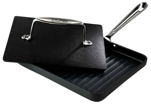 All-Clad 39902 Hard Anaodized Nonstick Panini Pan with Press / Cookware, Silver
